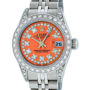 Rolex Ladies Datejust Orange Diamond Watch